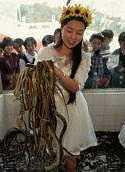 Snake handling girl